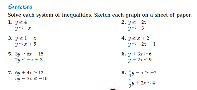2nd Block Math 2 – System of Inequalities Worksheet